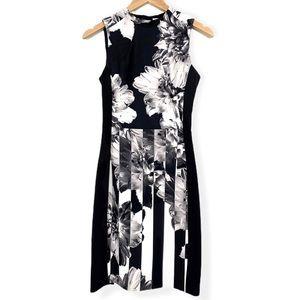 H&M Black White Floral Print Sleeveless Dress